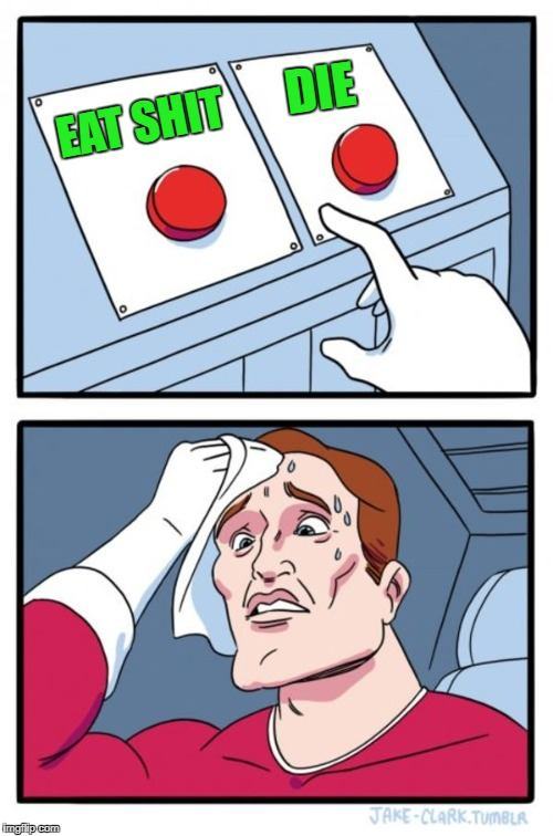 Two Buttons Meme | EAT SHIT DIE | image tagged in memes,two buttons | made w/ Imgflip meme maker