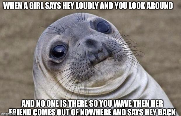 Awkward Moment Sealion Meme | WHEN A GIRL SAYS HEY LOUDLY AND YOU LOOK AROUND AND NO ONE IS THERE SO YOU WAVE THEN HER FRIEND COMES OUT OF NOWHERE AND SAYS HEY BACK | image tagged in memes,awkward moment sealion | made w/ Imgflip meme maker