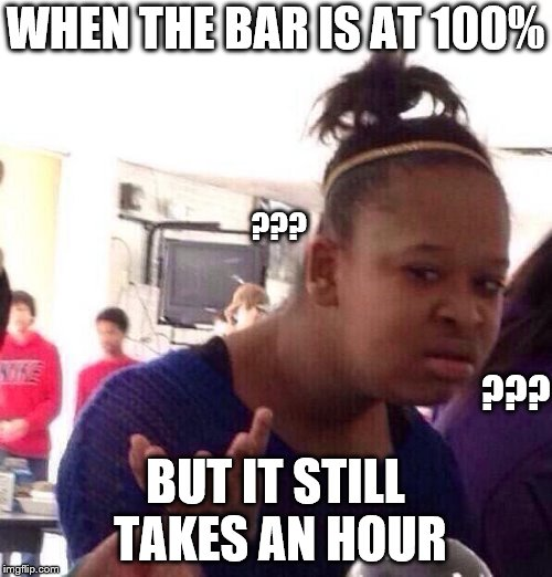 Black Girl Wat Meme | WHEN THE BAR IS AT 100% BUT IT STILL TAKES AN HOUR ??? ??? | image tagged in memes,black girl wat | made w/ Imgflip meme maker