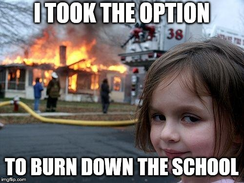 Disaster Girl Meme | I TOOK THE OPTION TO BURN DOWN THE SCHOOL | image tagged in memes,disaster girl | made w/ Imgflip meme maker