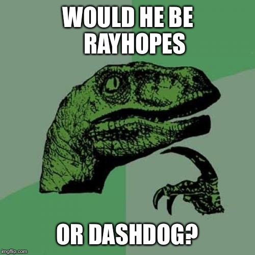Philosoraptor Meme | WOULD HE BE   RAYHOPES OR DASHDOG? | image tagged in memes,philosoraptor | made w/ Imgflip meme maker
