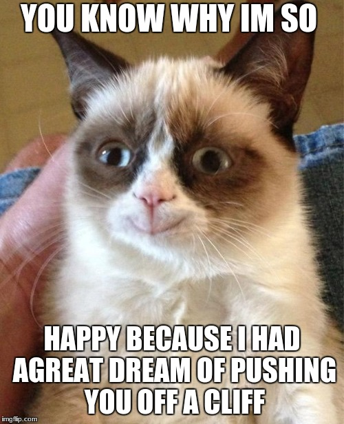Grumpy Cat Happy Meme | YOU KNOW WHY IM SO HAPPY BECAUSE I HAD AGREAT DREAM OF PUSHING YOU OFF A CLIFF | image tagged in memes,grumpy cat happy,grumpy cat | made w/ Imgflip meme maker