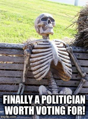 Waiting Skeleton Meme | FINALLY A POLITICIAN WORTH VOTING FOR! | image tagged in memes,waiting skeleton | made w/ Imgflip meme maker
