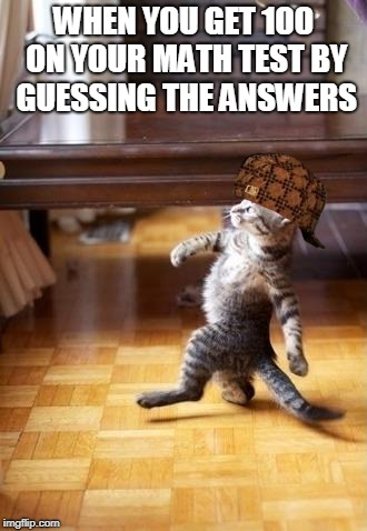 Cool Cat Stroll Meme | WHEN YOU GET 100 ON YOUR MATH TEST BY GUESSING THE ANSWERS | image tagged in memes,cool cat stroll,scumbag | made w/ Imgflip meme maker