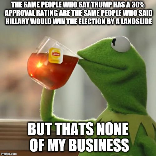 But Thats None Of My Business Meme | THE SAME PEOPLE WHO SAY TRUMP HAS A 30% APPROVAL RATING ARE THE SAME PEOPLE WHO SAID HILLARY WOULD WIN THE ELECTION BY A LANDSLIDE BUT THATS | image tagged in memes,but thats none of my business,kermit the frog | made w/ Imgflip meme maker