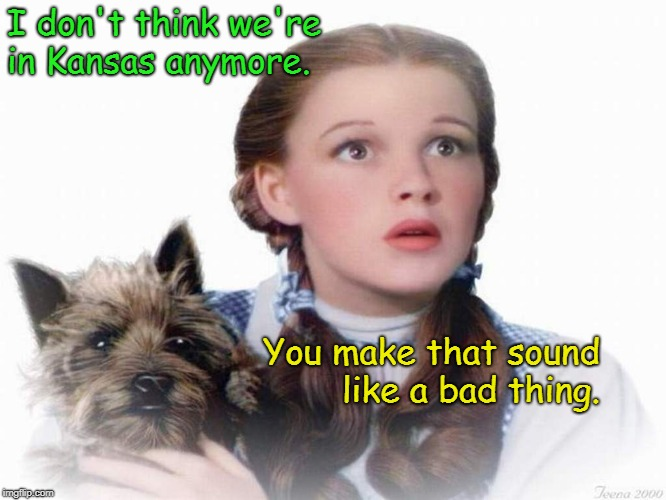 Not in Kansas? | I don't think we're in Kansas anymore. You make that sound like a bad thing. | image tagged in dorothy and toto,not in kansas anymore | made w/ Imgflip meme maker
