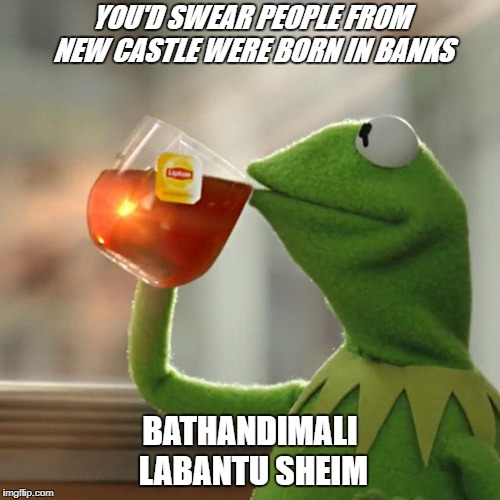 But Thats None Of My Business Meme | YOU'D SWEAR PEOPLE FROM NEW CASTLE WERE BORN IN BANKS BATHANDIMALI LABANTU SHEIM | image tagged in memes,but thats none of my business,kermit the frog | made w/ Imgflip meme maker