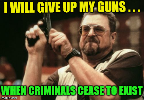 Am I The Only One Around Here | I WILL GIVE UP MY GUNS . . . WHEN CRIMINALS CEASE TO EXIST | image tagged in memes,am i the only one around here,2nd amendment | made w/ Imgflip meme maker