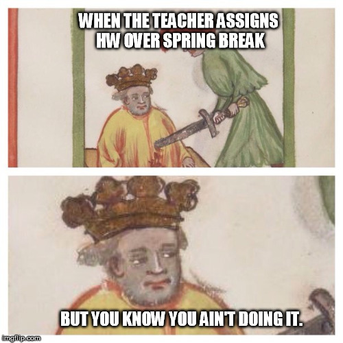 WHEN THE TEACHER ASSIGNS HW OVER SPRING BREAK BUT YOU KNOW YOU AIN'T DOING IT. | image tagged in medieval meh | made w/ Imgflip meme maker