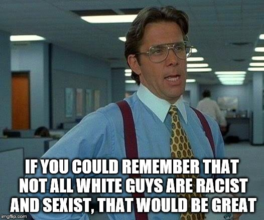 That Would Be Great Meme | IF YOU COULD REMEMBER THAT NOT ALL WHITE GUYS ARE RACIST AND SEXIST, THAT WOULD BE GREAT | image tagged in memes,that would be great | made w/ Imgflip meme maker