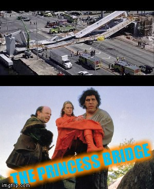 Miami pedestrian bridge collapse of 2018 |  THE PRINCESS BRIDGE | image tagged in memes,andre the giant | made w/ Imgflip meme maker