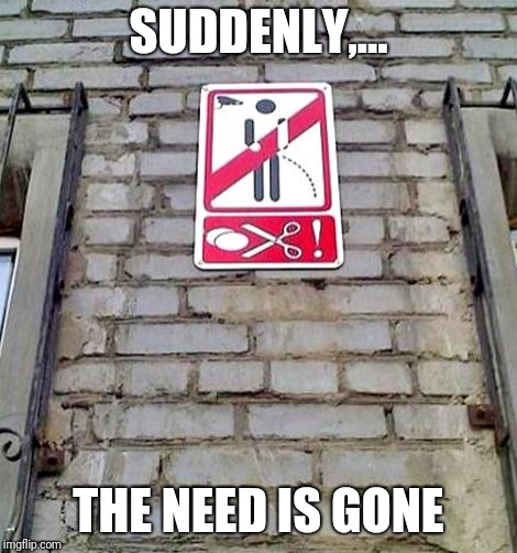SUDDENLY,... THE NEED IS GONE | made w/ Imgflip meme maker