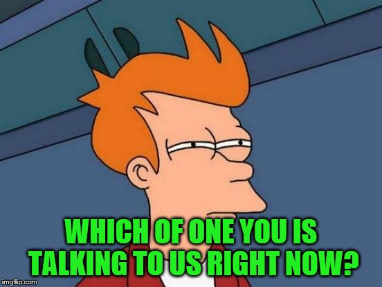 Futurama Fry Meme | WHICH OF ONE YOU IS TALKING TO US RIGHT NOW? | image tagged in memes,futurama fry | made w/ Imgflip meme maker
