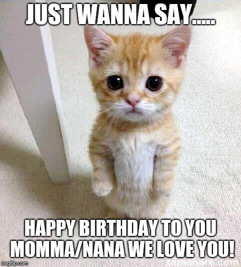 Cute Cat Meme | JUST WANNA SAY..... HAPPY BIRTHDAY TO YOU MOMMA/NANA WE LOVE YOU! | image tagged in memes,cute cat | made w/ Imgflip meme maker
