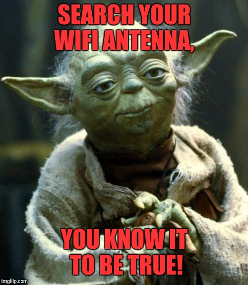 Star Wars Yoda Meme | SEARCH YOUR WIFI ANTENNA, YOU KNOW IT TO BE TRUE! | image tagged in memes,star wars yoda | made w/ Imgflip meme maker