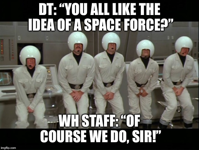 "SpaceBalls | DT: ""YOU ALL LIKE THE IDEA OF A SPACE FORCE?"" WH STAFF: ""OF COURSE WE DO, SIR!"" 