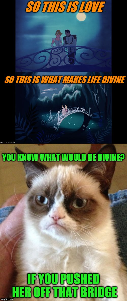 Grumpy Cat's alternate ending for Cinderella | SO THIS IS LOVE IF YOU PUSHED HER OFF THAT BRIDGE SO THIS IS WHAT MAKES LIFE DIVINE YOU KNOW WHAT WOULD BE DIVINE? | image tagged in memes,cinderella,so this is love,grumpy cat | made w/ Imgflip meme maker