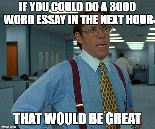 That Would Be Great Meme | IF YOU COULD DO A 3000 WORD ESSAY IN THE NEXT HOUR THAT WOULD BE GREAT | image tagged in memes,that would be great | made w/ Imgflip meme maker
