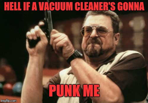 Am I The Only One Around Here Meme | HELL IF A VACUUM CLEANER'S GONNA PUNK ME | image tagged in memes,am i the only one around here | made w/ Imgflip meme maker
