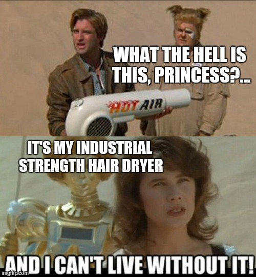 WHAT THE HELL IS THIS, PRINCESS?... IT'S MY INDUSTRIAL STRENGTH HAIR DRYER | made w/ Imgflip meme maker