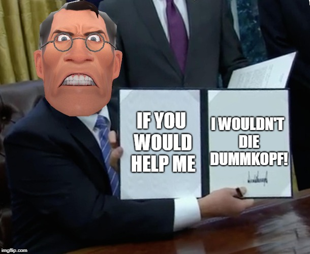 Tips to helping Medics | IF YOU WOULD HELP ME I WOULDN'T DIE DUMMKOPF! | image tagged in tf2 angry medic | made w/ Imgflip meme maker