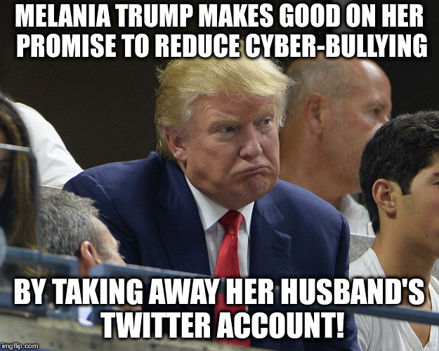 Don't Sulk Mr.President! | MELANIA TRUMP MAKES GOOD ON HER PROMISE TO REDUCE CYBER-BULLYING BY TAKING AWAY HER HUSBAND'S TWITTER ACCOUNT! | image tagged in trump,melania trump,cyberbullying,twitter,trump twitter | made w/ Imgflip meme maker
