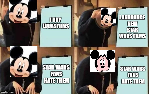 Gru's Plan | I BUY LUCASFILMS I ANNOUNCE NEW STAR WARS FILMS STAR WARS FANS HATE THEM STAR WARS FANS HATE THEM | image tagged in gru's plan | made w/ Imgflip meme maker