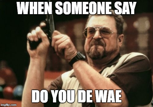 Am I The Only One Around Here Meme | WHEN SOMEONE SAY DO YOU DE WAE | image tagged in memes,am i the only one around here | made w/ Imgflip meme maker