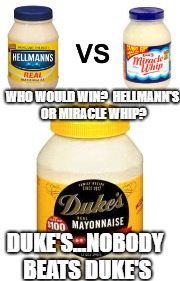 The only thing really worth arguing over.  Only, it's really not an argument. There's good people who like Duke's and the others | WHO WOULD WIN?  HELLMANN'S OR MIRACLE WHIP? DUKE'S...NOBODY BEATS DUKE'S | image tagged in who would win,funny memes,political meme | made w/ Imgflip meme maker