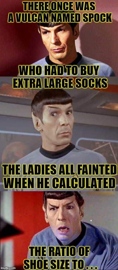 Aaaaand.... NSFW DENIED! | THERE ONCE WAS A VULCAN NAMED SPOCK WHO HAD TO BUY EXTRA LARGE SOCKS THE LADIES ALL FAINTED WHEN HE CALCULATED THE RATIO OF SHOE SIZE TO . . | image tagged in limerick,spock,star trek | made w/ Imgflip meme maker