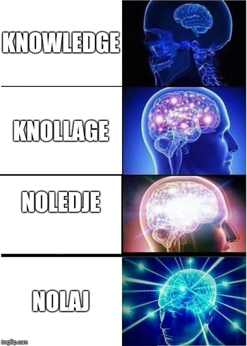Expanding Brain Meme | KNOWLEDGE KNOLLAGE NOLEDJE NOLAJ | image tagged in memes,expanding brain | made w/ Imgflip meme maker