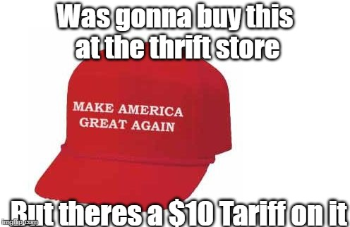 Was gonna buy this at the thrift store But theres a $10 Tariff on it | image tagged in make america great again hat | made w/ Imgflip meme maker