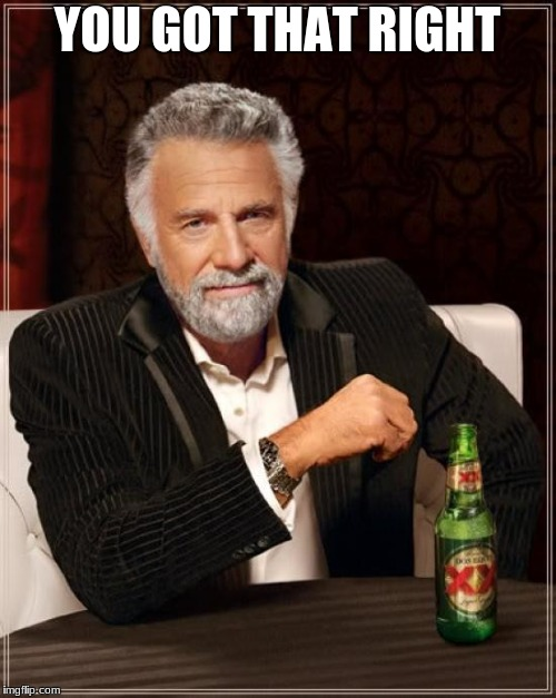 The Most Interesting Man In The World Meme | YOU GOT THAT RIGHT | image tagged in memes,the most interesting man in the world | made w/ Imgflip meme maker