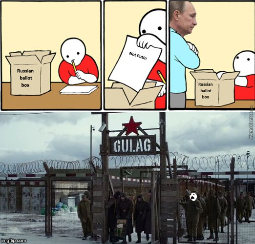 Shame on you voter |  RUSSIAN BALLOT BOX; NOT PUTIN; RUSSIAN BALLOT BOX | image tagged in memes,vladimir putin,voting,russia,gulag,putin | made w/ Imgflip meme maker