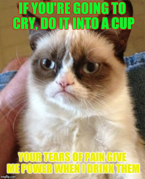 Grumpy Cat Meme | IF YOU'RE GOING TO CRY, DO IT INTO A CUP YOUR TEARS OF PAIN GIVE ME POWER WHEN I DRINK THEM | image tagged in memes,grumpy cat | made w/ Imgflip meme maker
