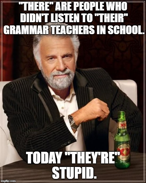 "Just for laughs | ""THERE"" ARE PEOPLE WHO DIDN'T LISTEN TO ""THEIR"" GRAMMAR TEACHERS IN SCHOOL. TODAY ""THEY'RE"" STUPID. 