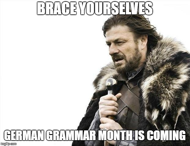 Brace Yourselves X is Coming Meme | BRACE YOURSELVES GERMAN GRAMMAR MONTH IS COMING | image tagged in memes,brace yourselves x is coming | made w/ Imgflip meme maker