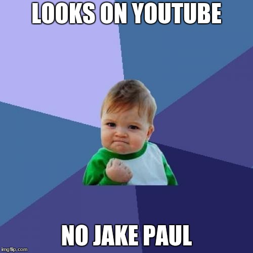 JP Meme | LOOKS ON YOUTUBE NO JAKE PAUL | image tagged in memes,success kid,jake paul | made w/ Imgflip meme maker