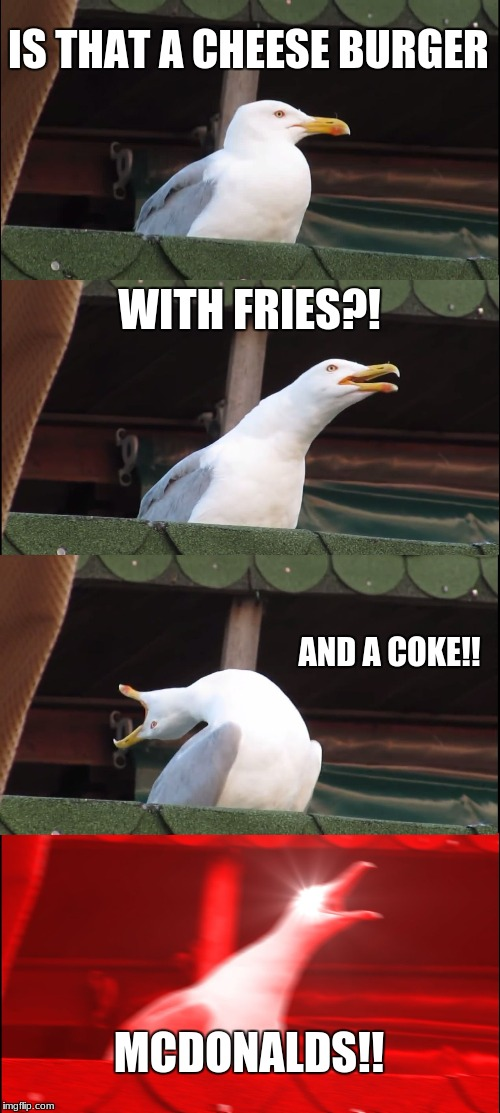 Inhaling Seagull Meme | IS THAT A CHEESE BURGER WITH FRIES?! AND A COKE!! MCDONALDS!! | image tagged in memes,inhaling seagull | made w/ Imgflip meme maker