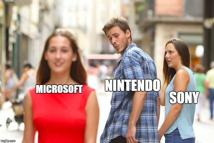Distracted Boyfriend Meme | NINTENDO SONY MICROSOFT | image tagged in memes,distracted boyfriend | made w/ Imgflip meme maker