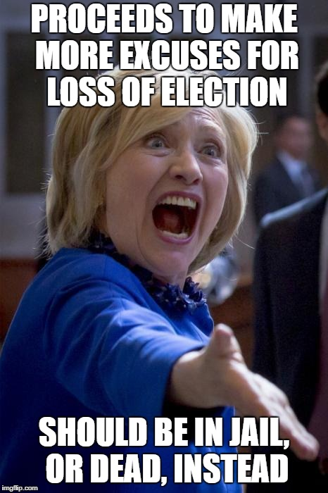 WTF Hillary | PROCEEDS TO MAKE MORE EXCUSES FOR LOSS OF ELECTION SHOULD BE IN JAIL, OR DEAD, INSTEAD | image tagged in wtf hillary | made w/ Imgflip meme maker