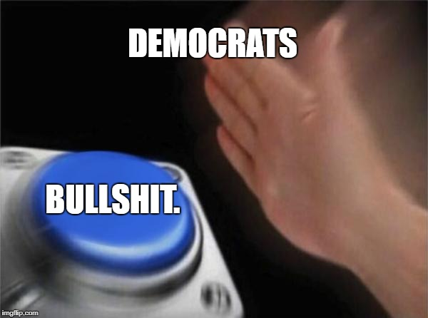 Blank Nut Button Meme | DEMOCRATS BULLSHIT. | image tagged in memes,blank nut button | made w/ Imgflip meme maker