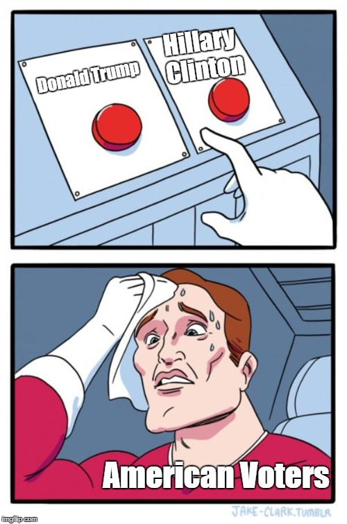 Two Buttons Meme | Donald Trump Hillary Clinton American Voters | image tagged in memes,two buttons | made w/ Imgflip meme maker