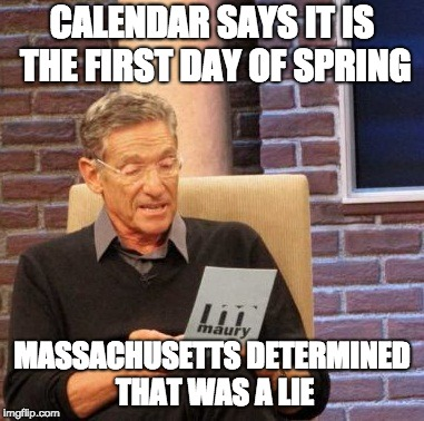 Maury Lie Detector Meme | CALENDAR SAYS IT IS THE FIRST DAY OF SPRING MASSACHUSETTS DETERMINED THAT WAS A LIE | image tagged in memes,maury lie detector | made w/ Imgflip meme maker