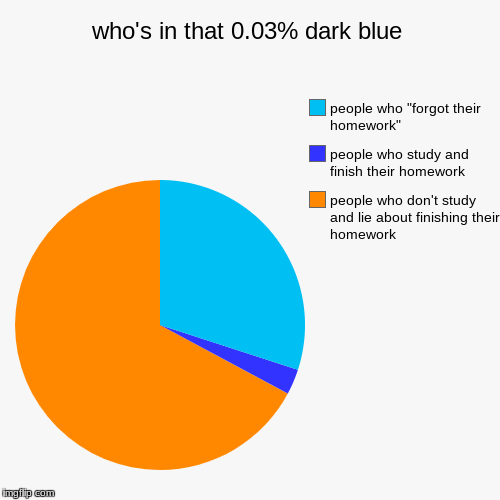 who's in that 0.03% dark blue | people who don't study and lie about finishing their homework, people who study and finish their homework, p | image tagged in funny,pie charts | made w/ Imgflip pie chart maker