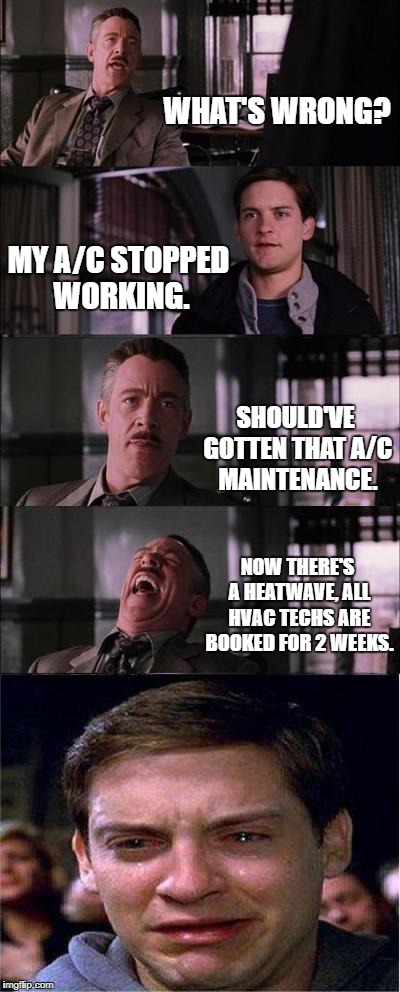 Peter Parker Cry Meme | WHAT'S WRONG? MY A/C STOPPED WORKING. SHOULD'VE GOTTEN THAT A/C MAINTENANCE. NOW THERE'S A HEATWAVE, ALL HVAC TECHS ARE BOOKED FOR 2 WEEKS. | image tagged in memes,peter parker cry | made w/ Imgflip meme maker