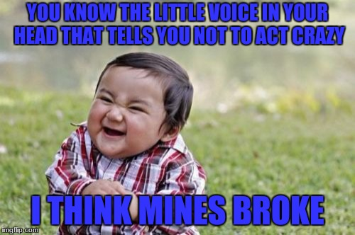 Evil Toddler Meme | YOU KNOW THE LITTLE VOICE IN YOUR HEAD THAT TELLS YOU NOT TO ACT CRAZY I THINK MINES BROKE | image tagged in memes,evil toddler | made w/ Imgflip meme maker