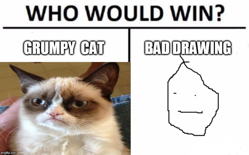 who would win | GRUMPY CAT BAD DRAWING | image tagged in who would win | made w/ Imgflip meme maker