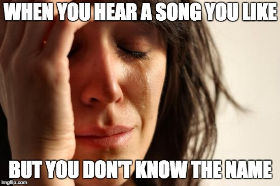 First World Problems Meme | WHEN YOU HEAR A SONG YOU LIKE BUT YOU DON'T KNOW THE NAME | image tagged in memes,first world problems | made w/ Imgflip meme maker