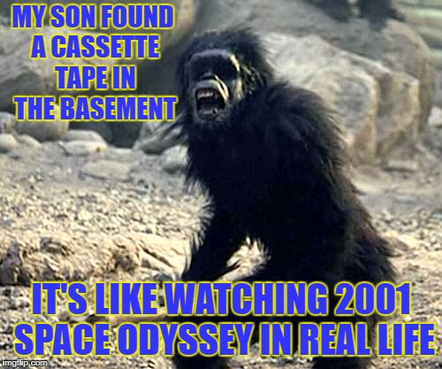 Ancient artifacts found | MY SON FOUND A CASSETTE TAPE IN THE BASEMENT IT'S LIKE WATCHING 2001 SPACE ODYSSEY IN REAL LIFE | image tagged in 2001 apes | made w/ Imgflip meme maker